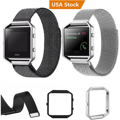 Milanese Magnetic Stainless Steel Wrist Watch Band Strap +Frame for Fitbit Blaze