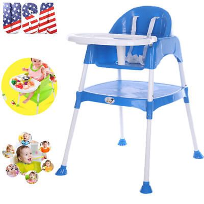 3-in-1 Baby High Chair Convertible Table Seat Booster Toddler Feeding Highchair