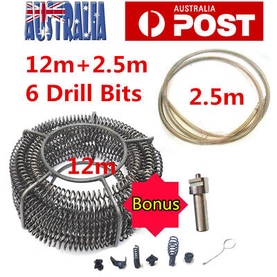 12m Plumber Drain Snake Pipe Pipeline Sewer Cleaner + 2.5M w 6 Drill Cutter Bit