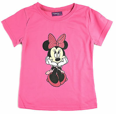 Girls Children Kids Pink Disney Minnie Mouse Summer Top T-Shirt Style-2