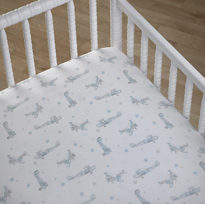 Boys Aeroplanes Blue & White Fitted Nursery Cot Sheet Cocalo Baby Bedding