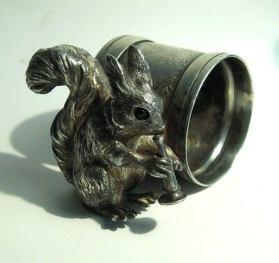 Antique Squirrel Figural Napkin Ring Meriden Silver Silverplate Horn Glass Eyes