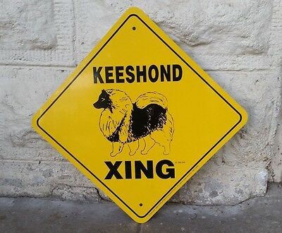 1989 Noble Beasts Graphics Keeshond Xing Metal Sign Yellow/black