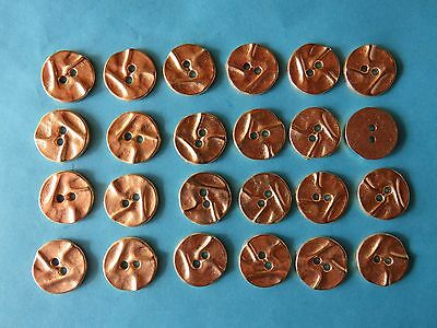 24 YELLOW GOLD TONE COLOURED  BUTTONS...NEW ... 1.5cm...Metal