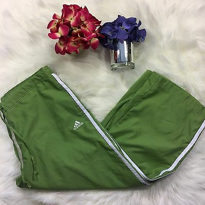 Adidas Soft Capri Cropped Pants Green white Medium Women's Athletic Workout