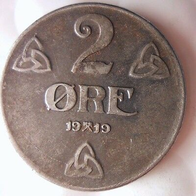 1919 NORWAY 2 ORE - Super Rare Series - HIGH VALUE - FREE SHIP - Norway Bin A