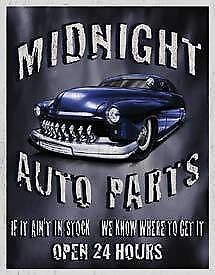 Midnight Auto Parts Tin Sign New Garage Shed Ford Hotrod  Ratrod Rustic
