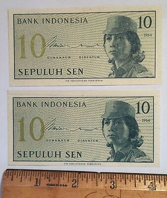 Lot Of 2 Indonesia 10 Sepuluh Sen 1964 Foreign Paper Money Banknote Unc