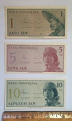 Indonesia 1, 5, 10 Sen 1964 Foreign Paper Money Banknote Unc