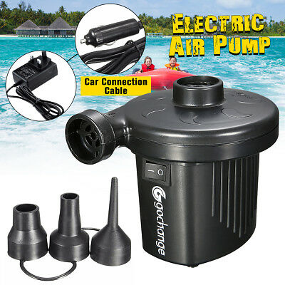 Electric UK Plug Air Pump Inflatable Airbed Camping Car Inflator Pump +3 Nozzles