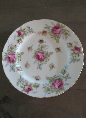 """Lefton 8"""" hand painted rose plate"""