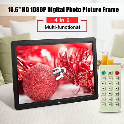 """15.6"""" HD 1080P LED Digital Photo Picture Frame Movie MP4 Player Remote Control"""