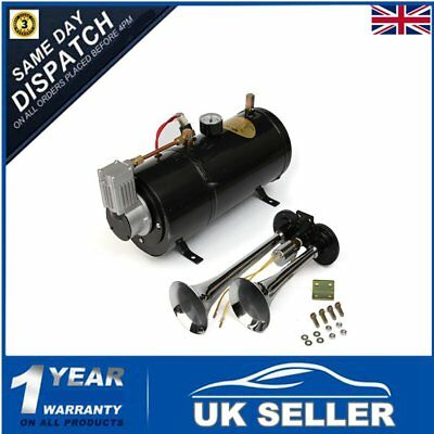 Truck Air Horn 150db Loud Dual Double Trumpet 110 PSI Compressor Gauge Tubing UK