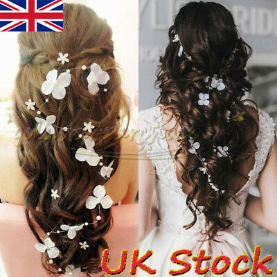 Bridal Flower Hair Accessories Pearl Wedding Headband Prom Hair Vine Headpiece