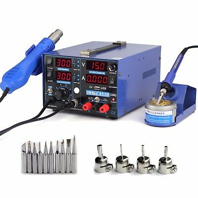 3in1 FOR YIHUA853D 3A DC POWER SUPPLY HOT AIR GUN SOLDERING REWORK STATION AU