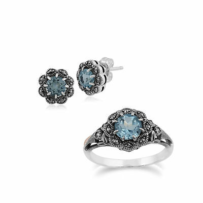 Sterling Silver Blue Topaz & Marcasite Art Nouveau Stud Earring and Ring Set