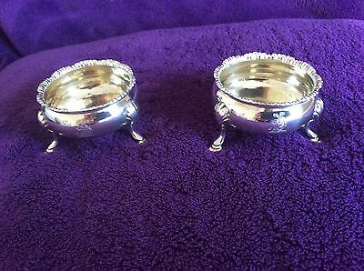 Beautiful Pair Salts Solid Silver - Hallmark 1769 - David Robert Hennell