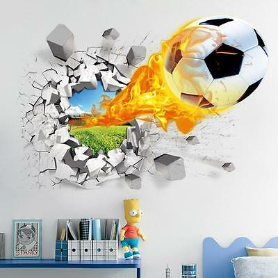 3D  Football Removable Wall Stickers for Kids Room Vinyl Wallpaper Art Mural