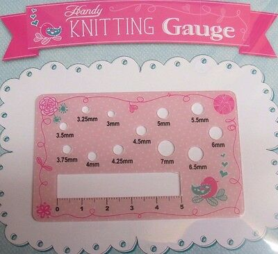 HANDY PLASTIC KNITTING GAUGE~KNITTING NEEDLE GAUGE SIZER~CROCHET~3mm~7mm