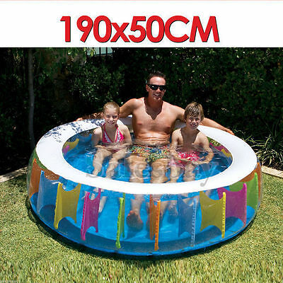 Air Inflatable Inflate Pool Toy Giant Rainbow Pool 190X50cm