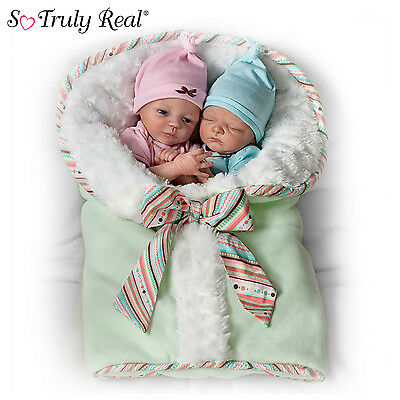"Donna Lee ""Madison And Mason"" Poseable Twin Baby Doll Set with Custom Bunting"