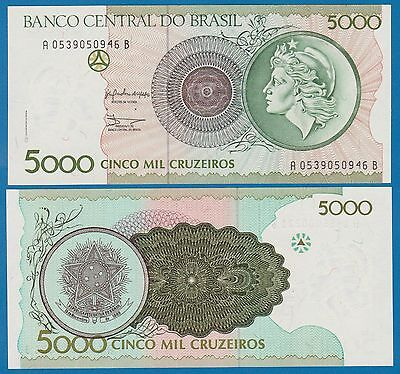 Brazil 5000 Cruzeiros P 227 a (1990) UNC Low Shipping! Combine FREE 5,000 227a