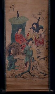 Awesome Long Old Chinese Scroll Hand Painting Women ZhangDaQian Marks KK609