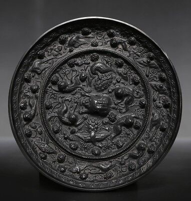 Antique Ancient Rare Chinese Bronze Mirror Mythical Animals Round Mirror US212