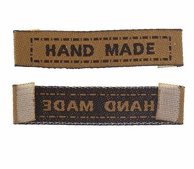 """50 """"Handmade"""" Fabric Labels 45mm (1 3/4"""" inch) Sew On Hand Made Clothing"""