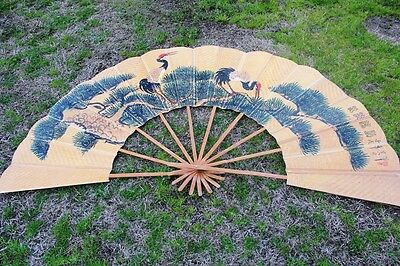 Vintage Asian Folding Fan  / Wall Art Huge