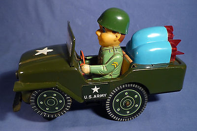 MASUDAYA US Army Jeep Japan Blech 60's Vintage Tin Toy Battery Operated G171
