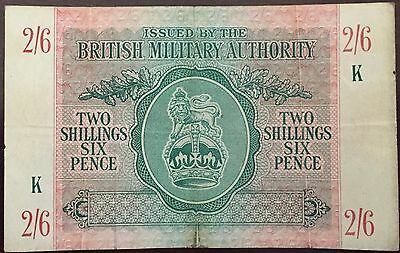 Two Shillings Six Pence British Military Authority Paper Bank Note WWII