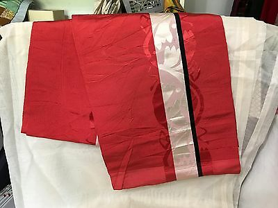 Antique Vintage Silk  Obi White w/ Red & White Woven fabric
