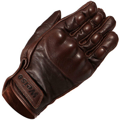 Weise Victory Short Leather Motorcycle Motorbike Gloves - Brown