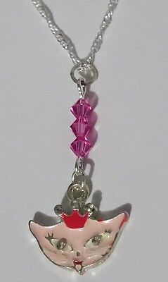 Cute PINK PRINCESS KITTY CAT with CROWN PENDANT Silver NECKLACE ~ Pinup/Kawaii