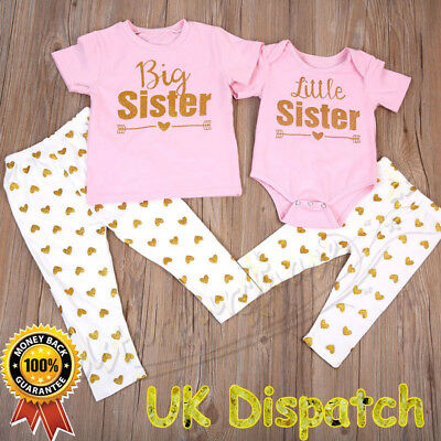Newborn Baby Girl Little Sister Big Sister Romper T-shirt Pants Outfits Clothes
