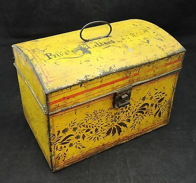 Antique Yellow Toleware Hinged Convex Lid Document Box-All Original-Mid 1800's