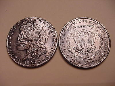 Hobo Style 1893 Morgan Dollar Eagle Back Silver Plated Toned Skull Coin- Series1