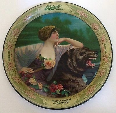 Antique 1913 Authentic Rainier Beer Tray Seattle Brewing & Malting Co #1702 75