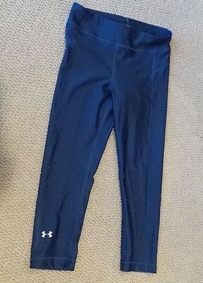 NEW UA Under Armour HeatGear Women's  BLUE Capri Leggings SMALL COMPRESSION