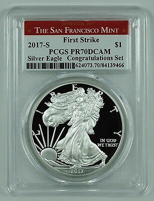 2017-S $1 Silver Eagle Coin Proof PCGS PR70DCAM First Strike Special SF Label