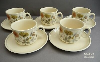 Set Of 5 J & G Meakin 'Hedgerow' Trend Cups And Saucers - Fab Condition