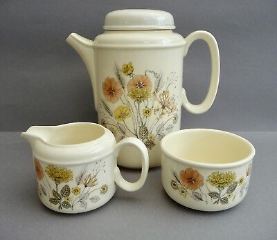 J & G Meakin Hedgerow Trend Coffee Pot Cream Jug And Sugar Bowl Great Condition