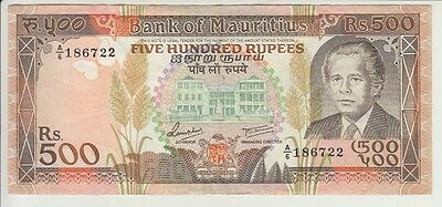 MAURITIUS BANKNOTE P40b-6722 500 RUPEES PREFIX A/6 EXTREMELY FINE USA SELLER