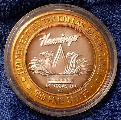 Flamingo Hilton Casino Las Vegas Ten Dollar .999 Fine Silver Gaming Token