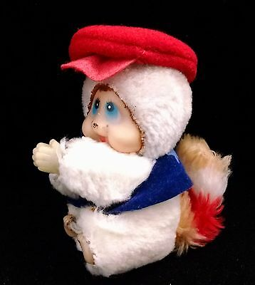 Vintage Clip-On White Raccoon with Cap- Monchhichi Type Toy Hugger Doll