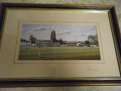Opening over at Taunton, by Maurice Bishop, art print, signed.