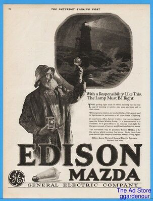 1918 National Mazda Lamp Works Lighthouse Light Keeper General Electric Ad