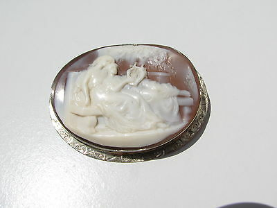 Antique Vtg.georgian  Woman Playing Kinnor Harp 14K Gold Conch Cameo Brooch