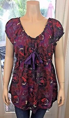 Duo Womens XL Purple Red Floral Scoop Neck Short Sleeve Maternity Blouse Top